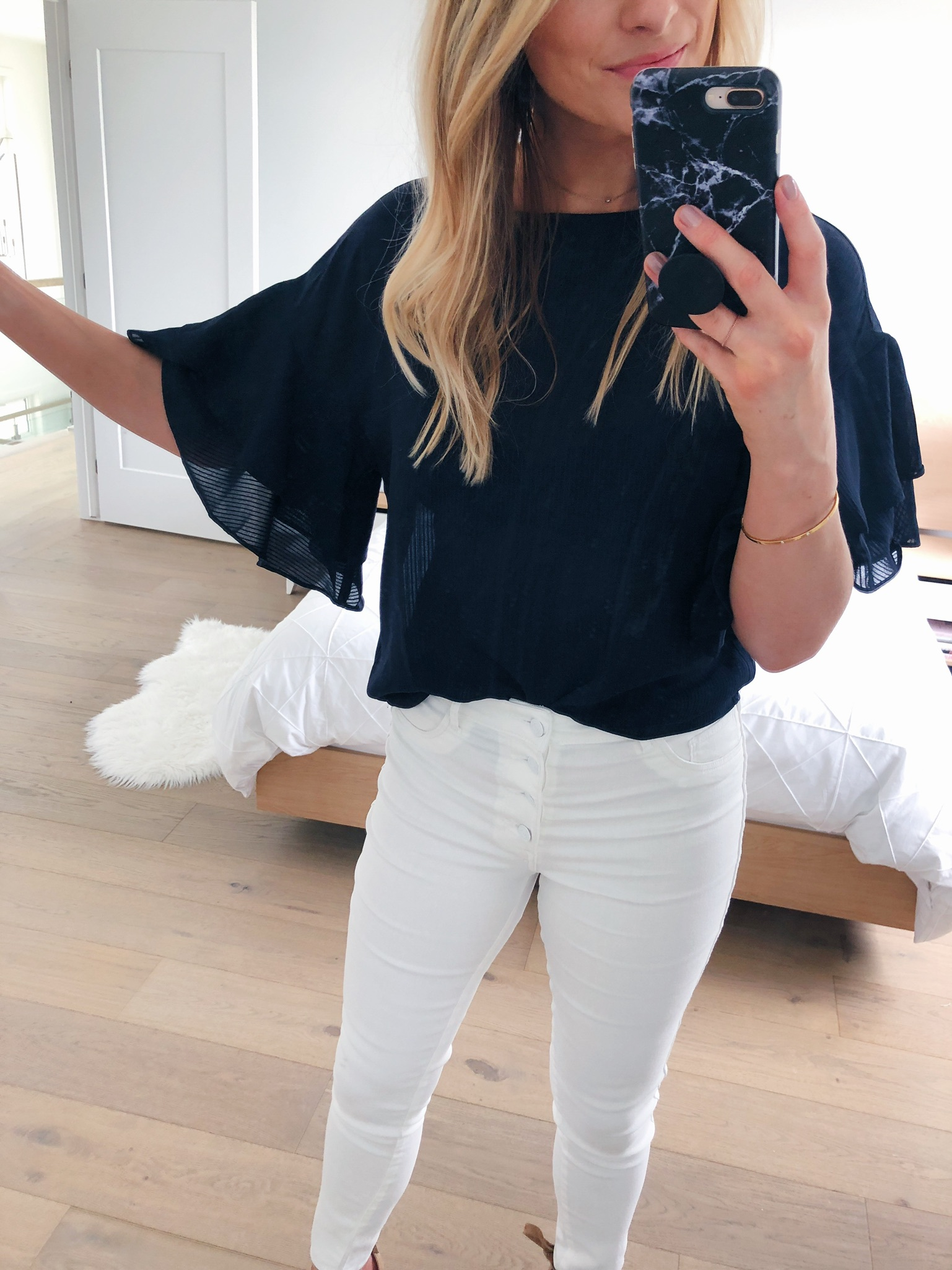1 person, mirror selfie, blogger clothing try on session