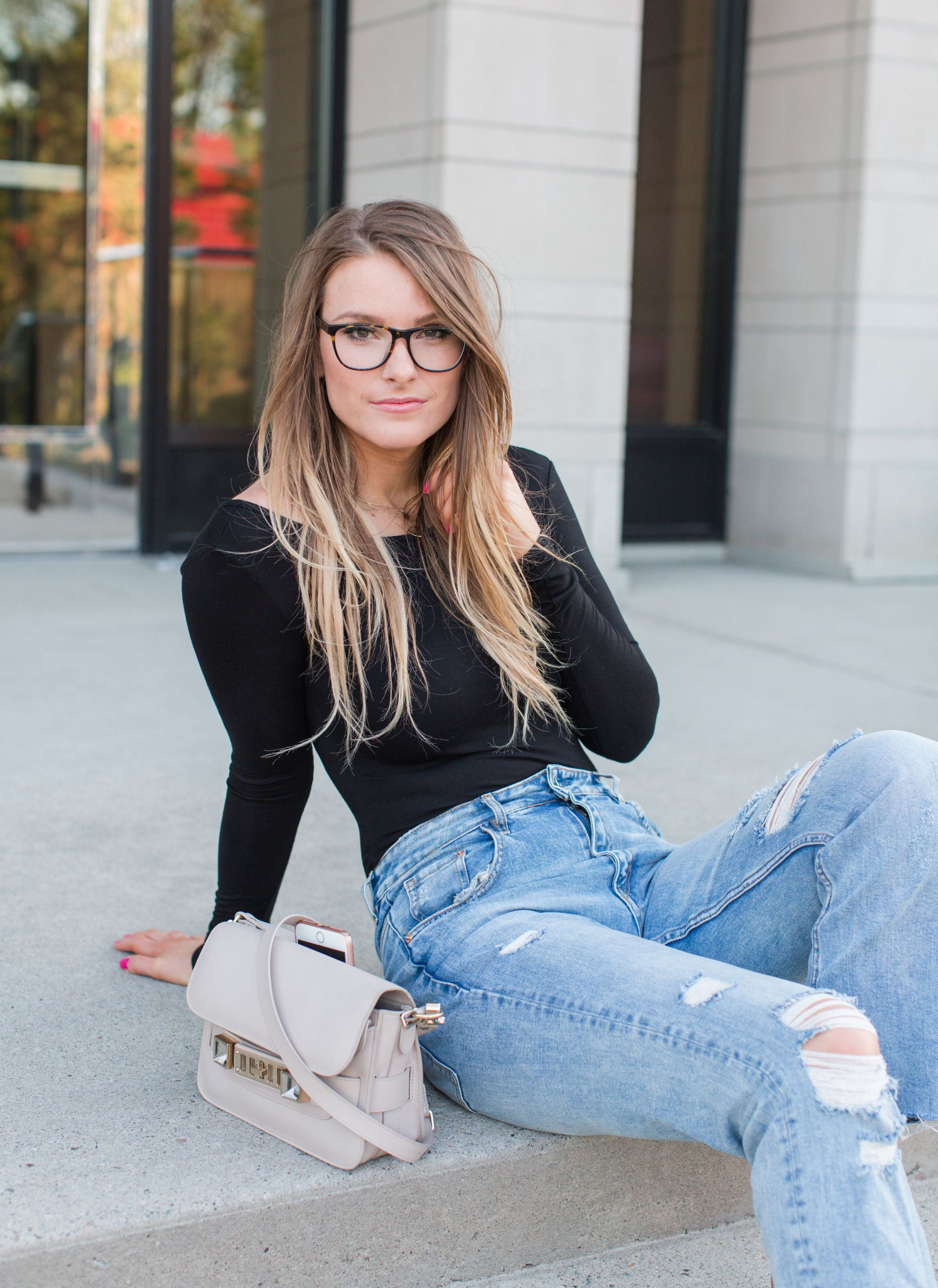1 person, jeans and bodysuit outfit, proenza schouler bag
