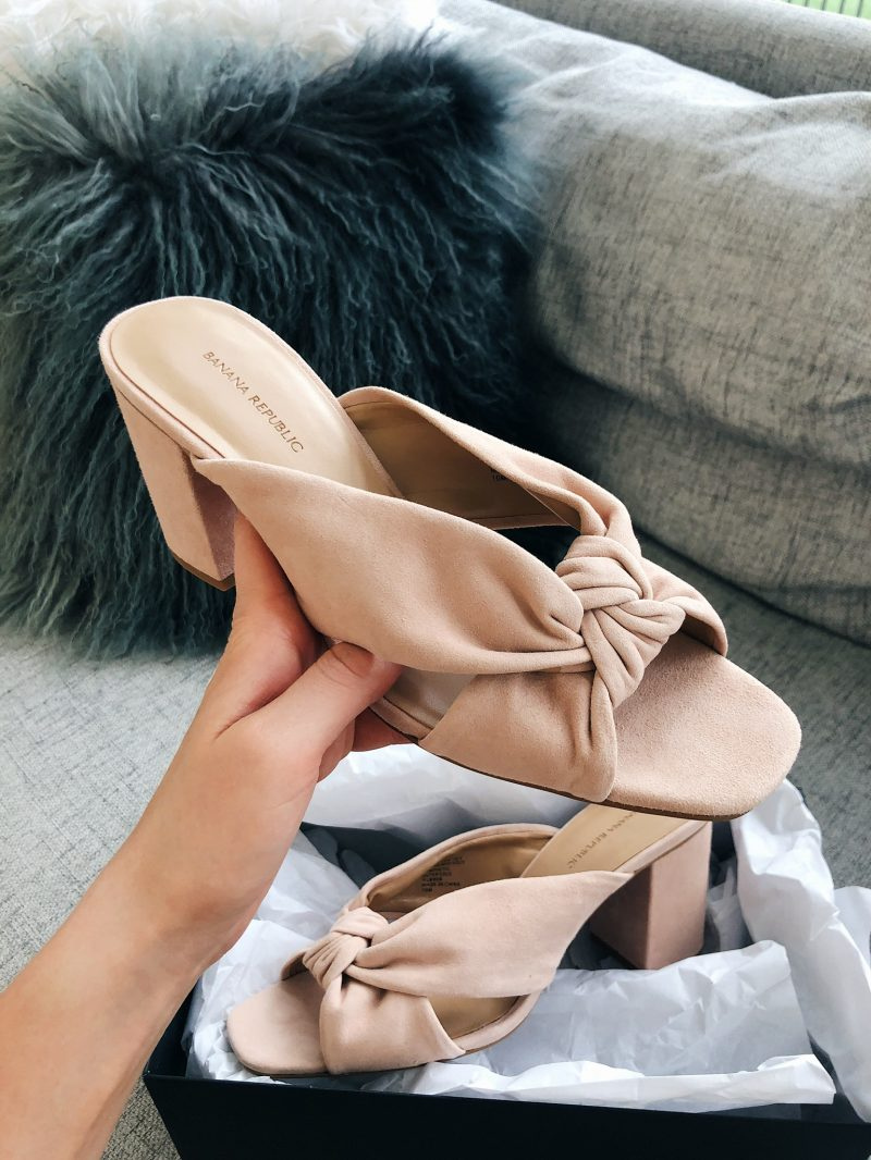 nude suede mules, trendy shoes summer 2018