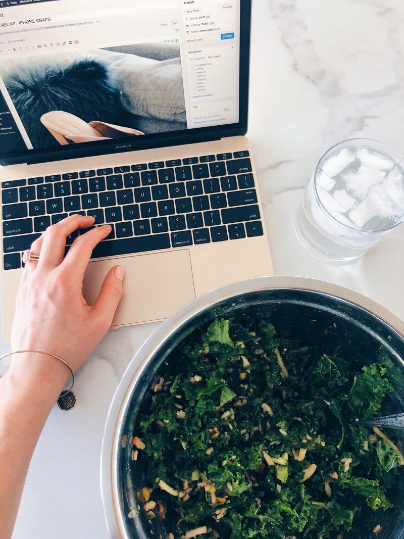 gold macbook, healthy salad, life with aco weekend
