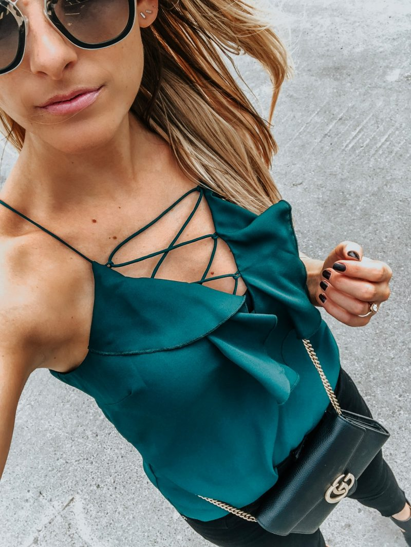 1 person from where I stand selfie, lace up cami, acolookdowns
