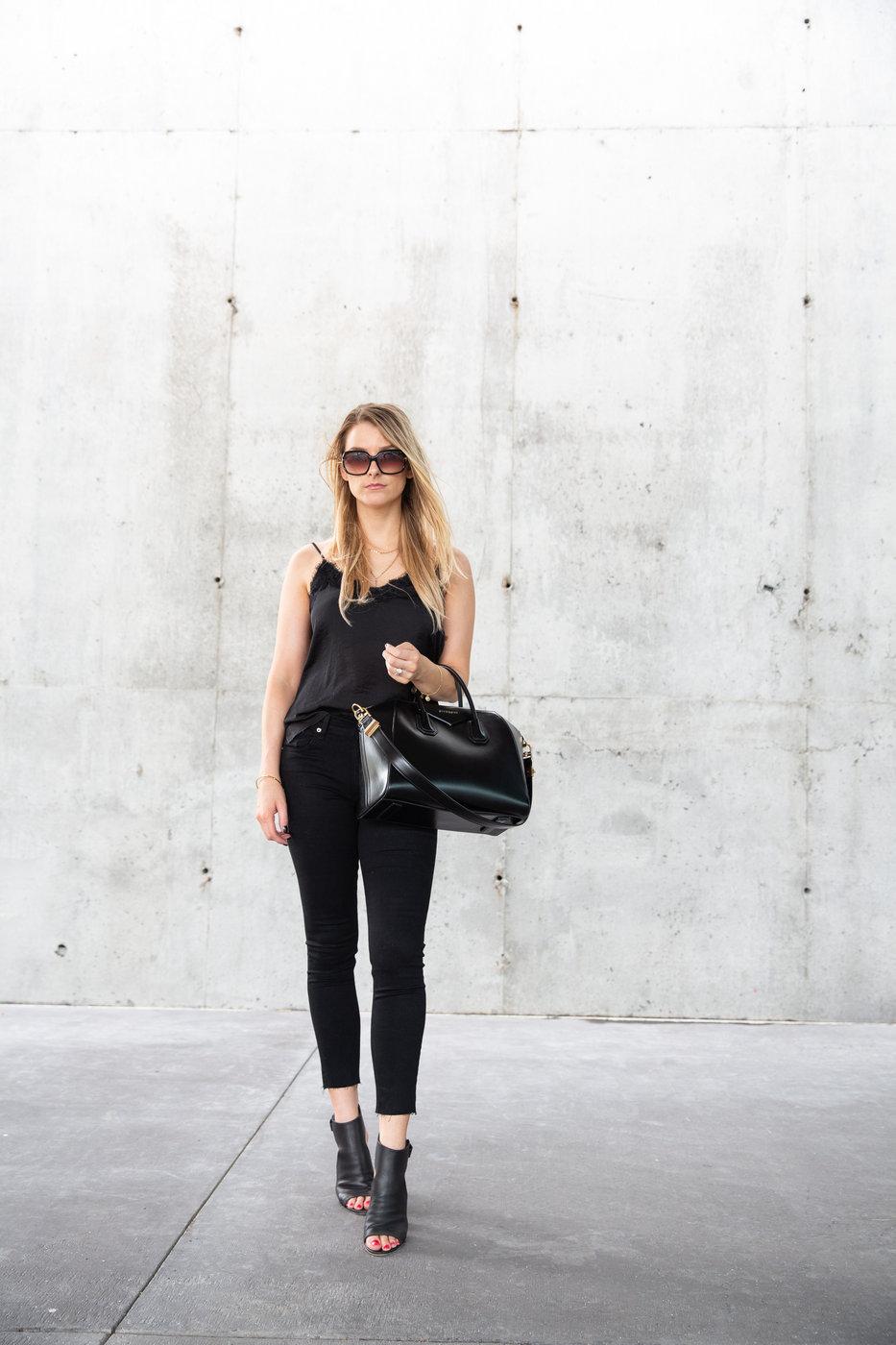 1 person, girl in all black outfit, Givenchy antigona