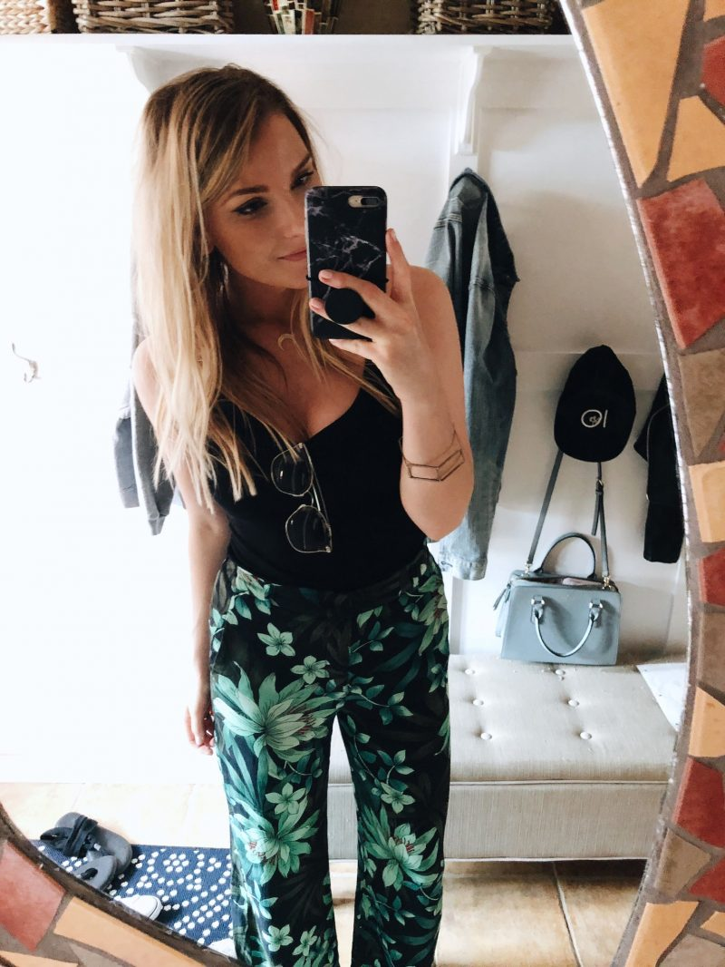 1 person, selfie with floral pants