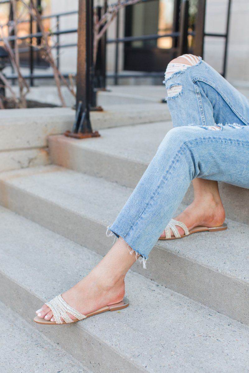1 person, girlfriend distressed jeans and Zara slides