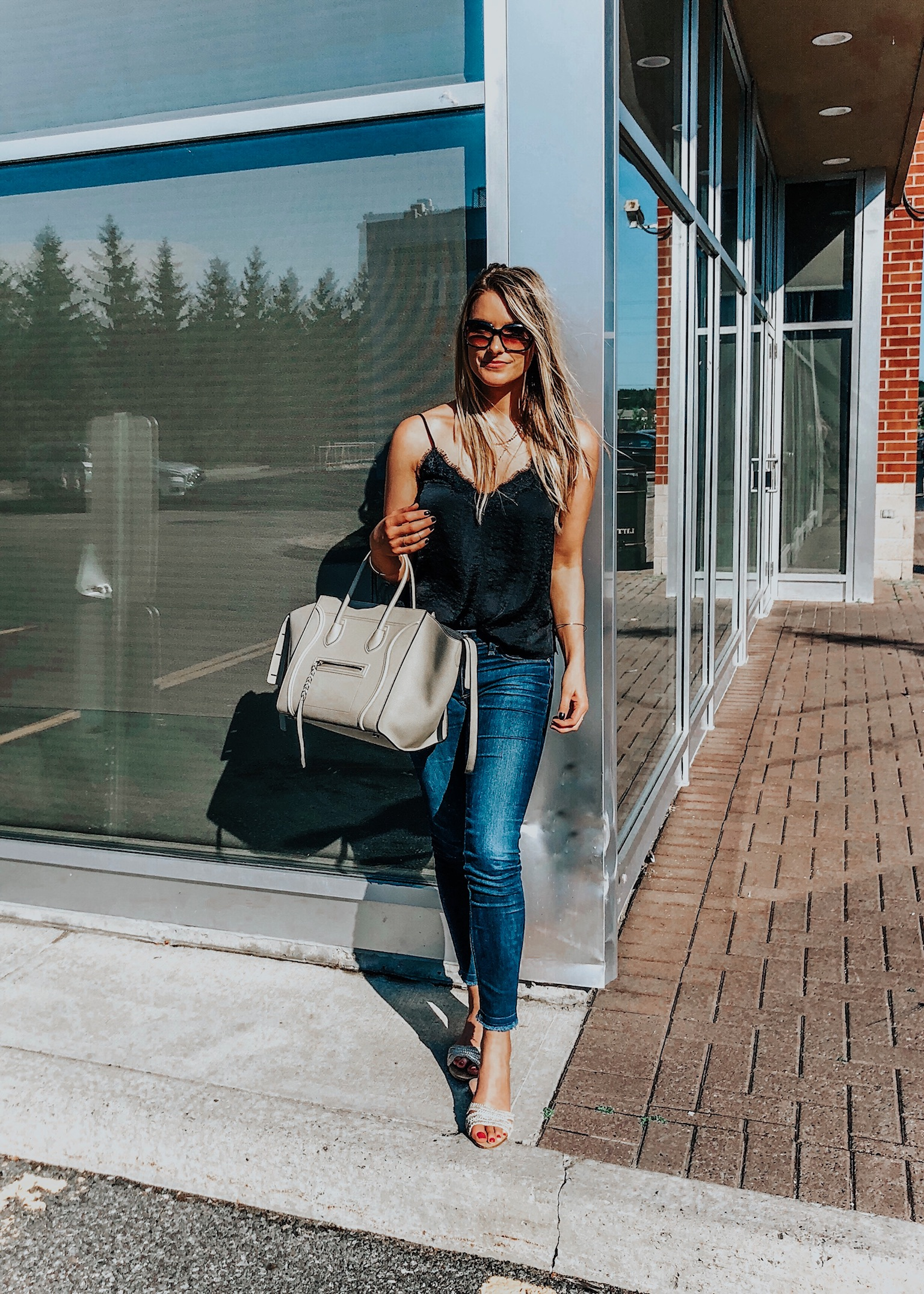 1 person, blogger girl, black cami and jeans, Celine phantom