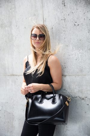 1 person, girl in all black outfit, Givenchy antigona