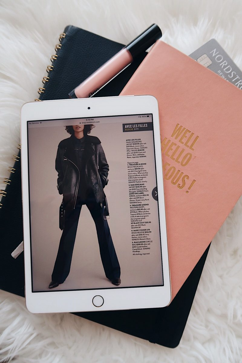 Nordstrom anniversary sale tips, iPad with Nordstrom catalog