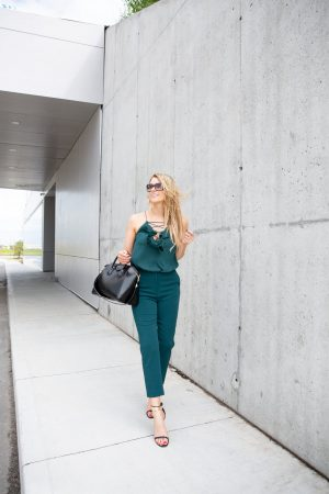 1 person, wedding guest outfit, girl in teal pants and top with heels, Givenchy antigona