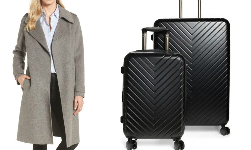 Nordstrom anniversary sale picks, suitcase and grey wool coat