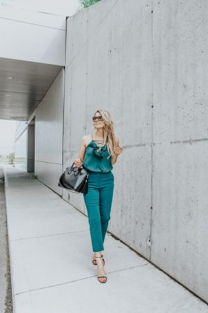 1 person, wedding guest outfit, teal dress pants