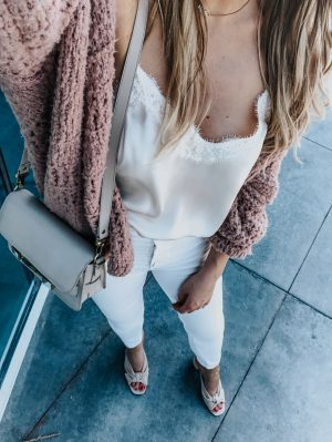 1 person, from where i stand, white cami and crochet sweater