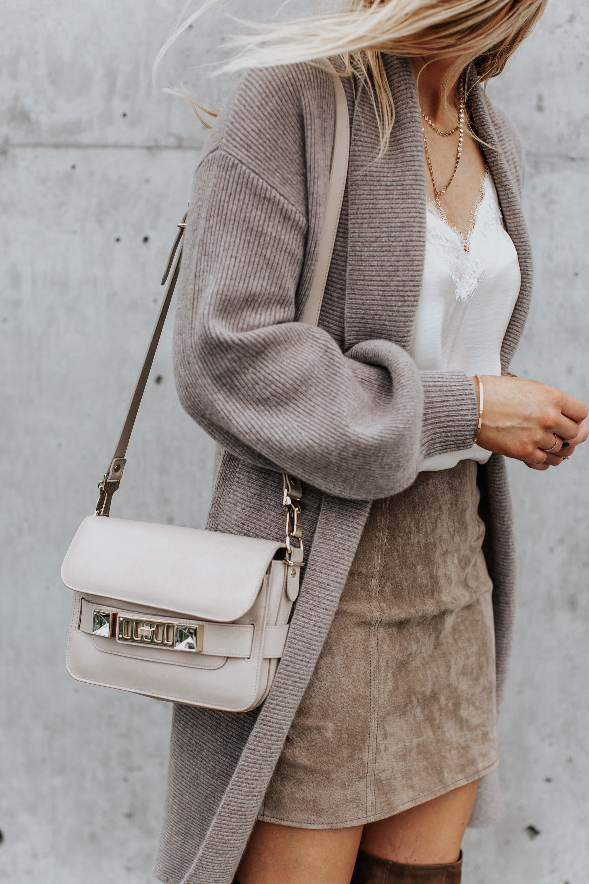 1 person, long cardigan and proenza schouler ps11 mini classic bag