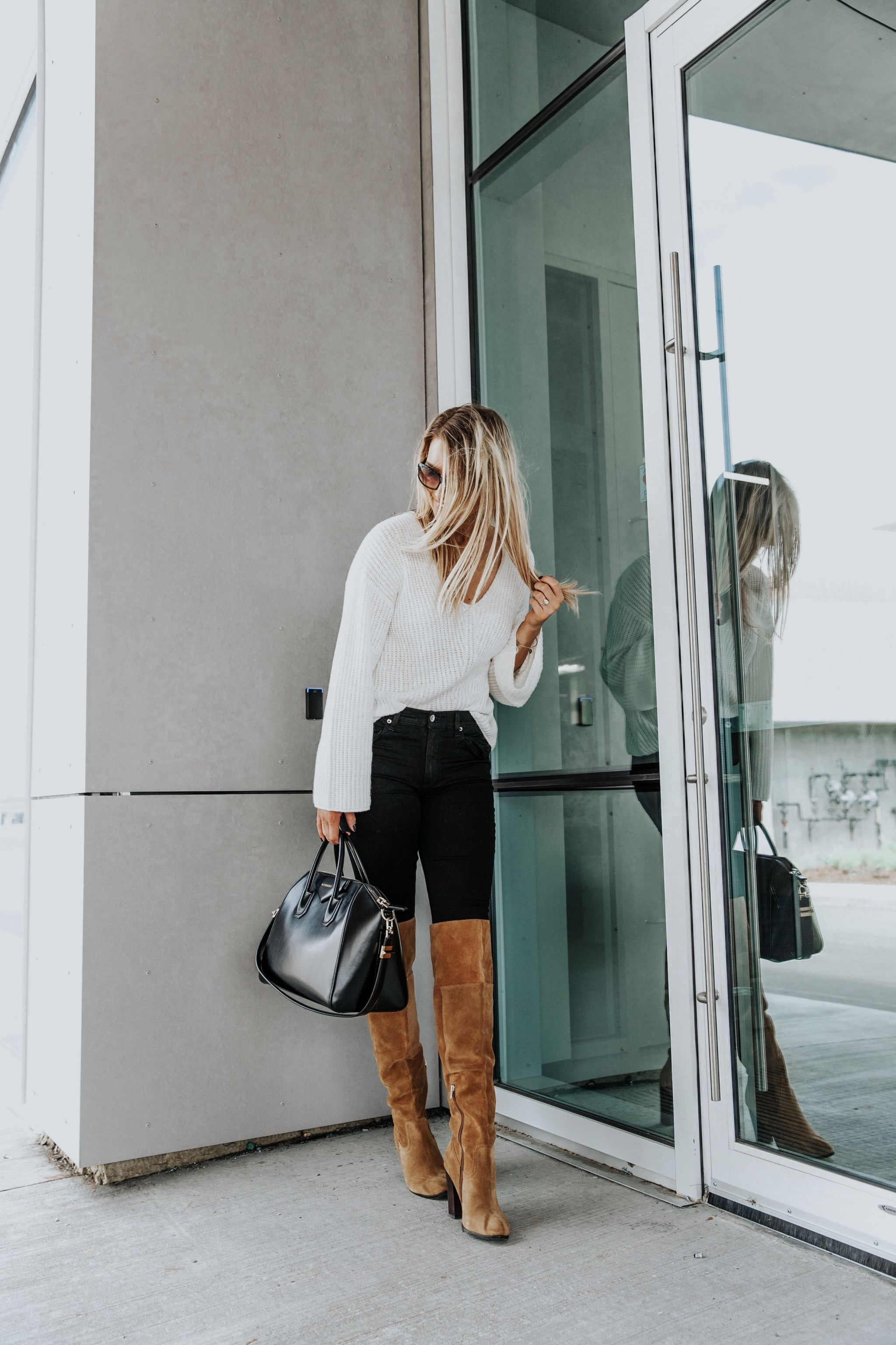 1 person, blogger in over the knee boots