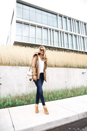 1 person, cute girl in fall jacket and jeans, peep toe booties