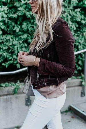 1 person, girl wearing plum suede jacket, fashion blogger blonde