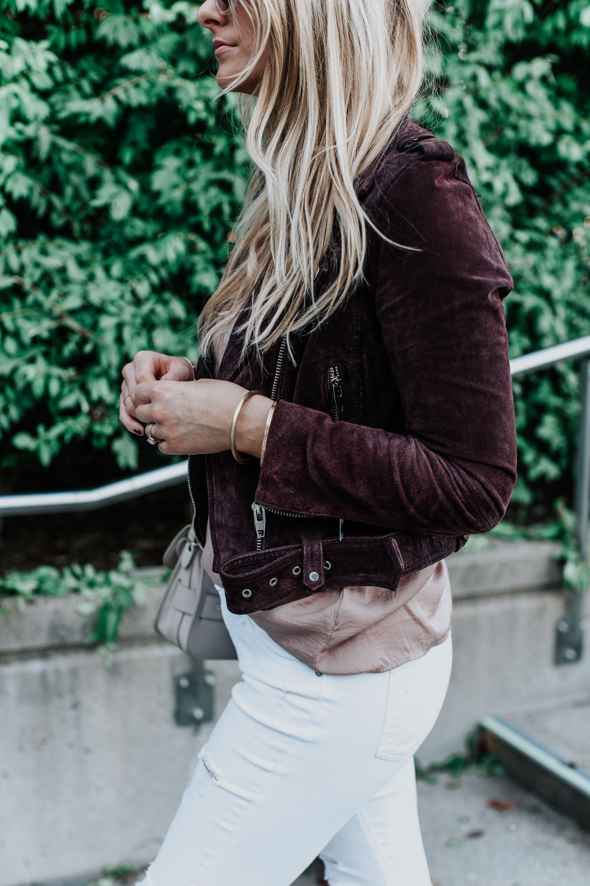 1 person, girl wearing plum suede jacket, fashion blogger blonde