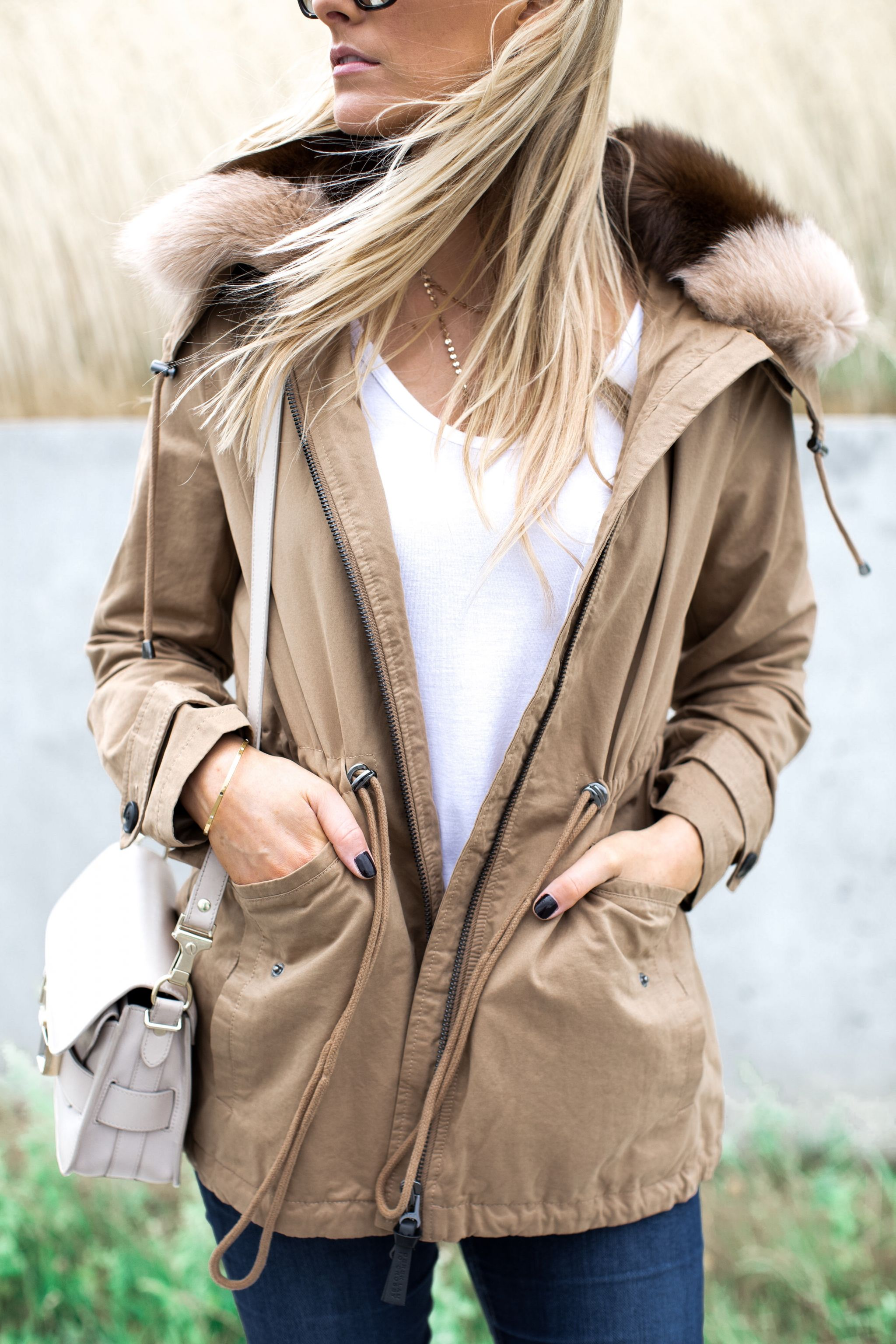 1 person, girl wearing tan jacket with fur collar