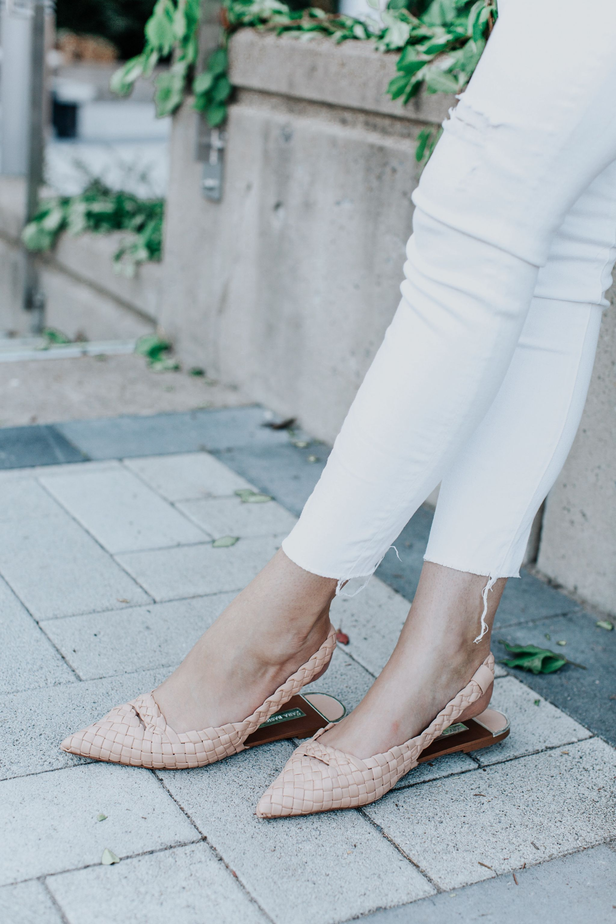 1 person, zara woven flats and white pants