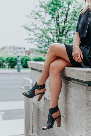Labor Day sales blogger, 1 person, sitting with Vince heels on