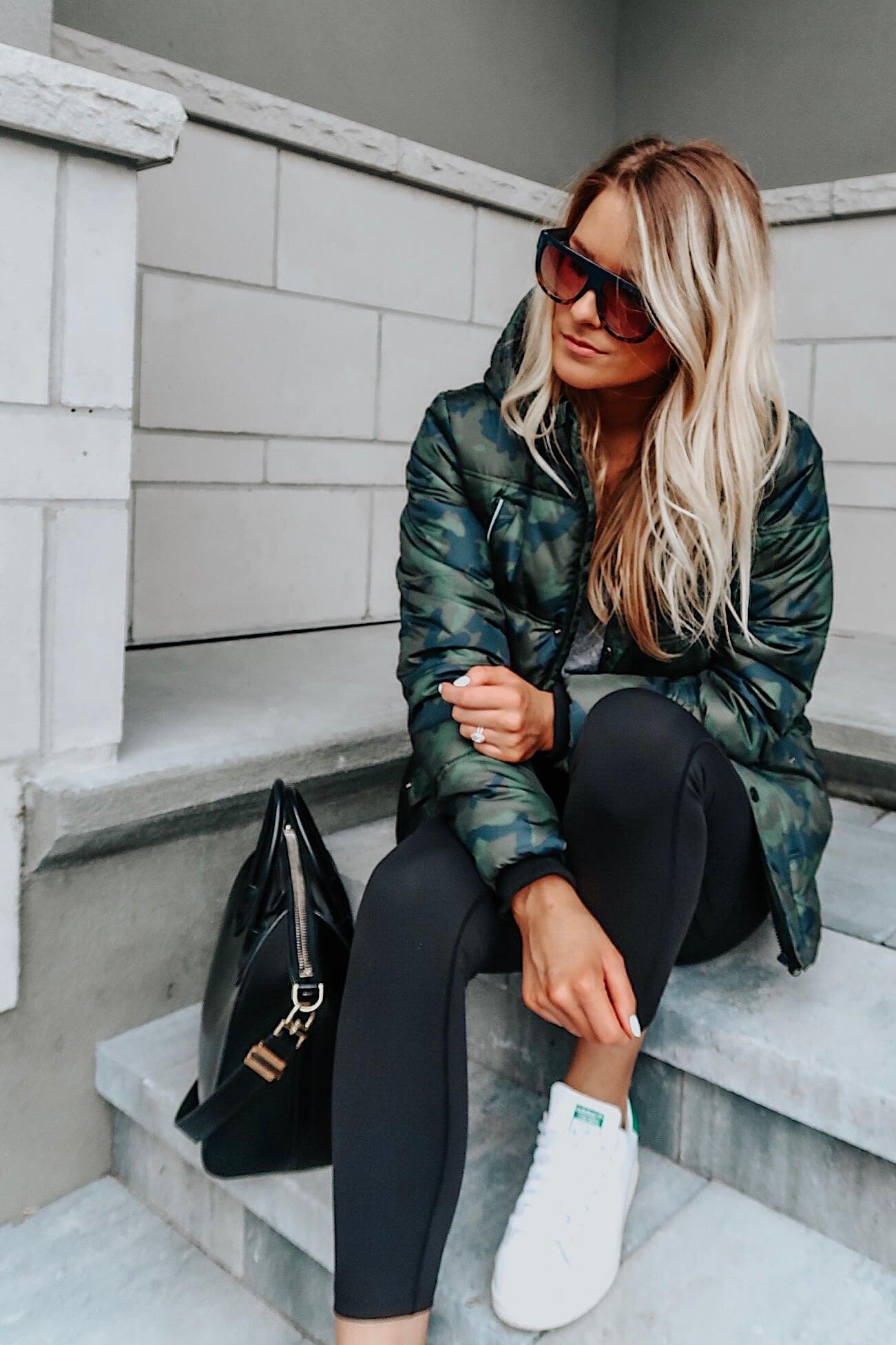 1 person, fashion blogger in camo jacket, Givenchy antigona bag, fall outfit Inspo
