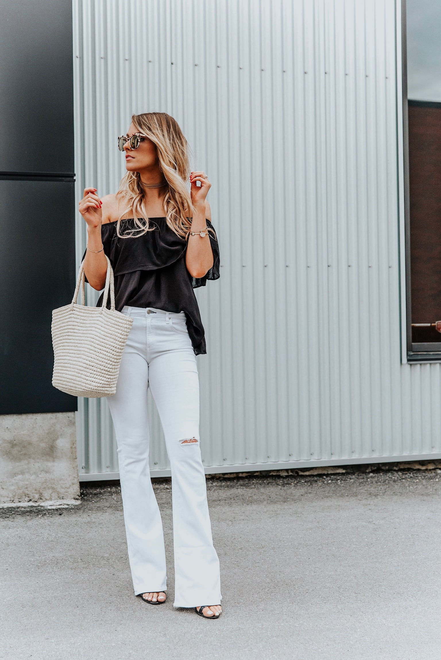 1 person, girl in white flares outfit, Labor Day sales blog post