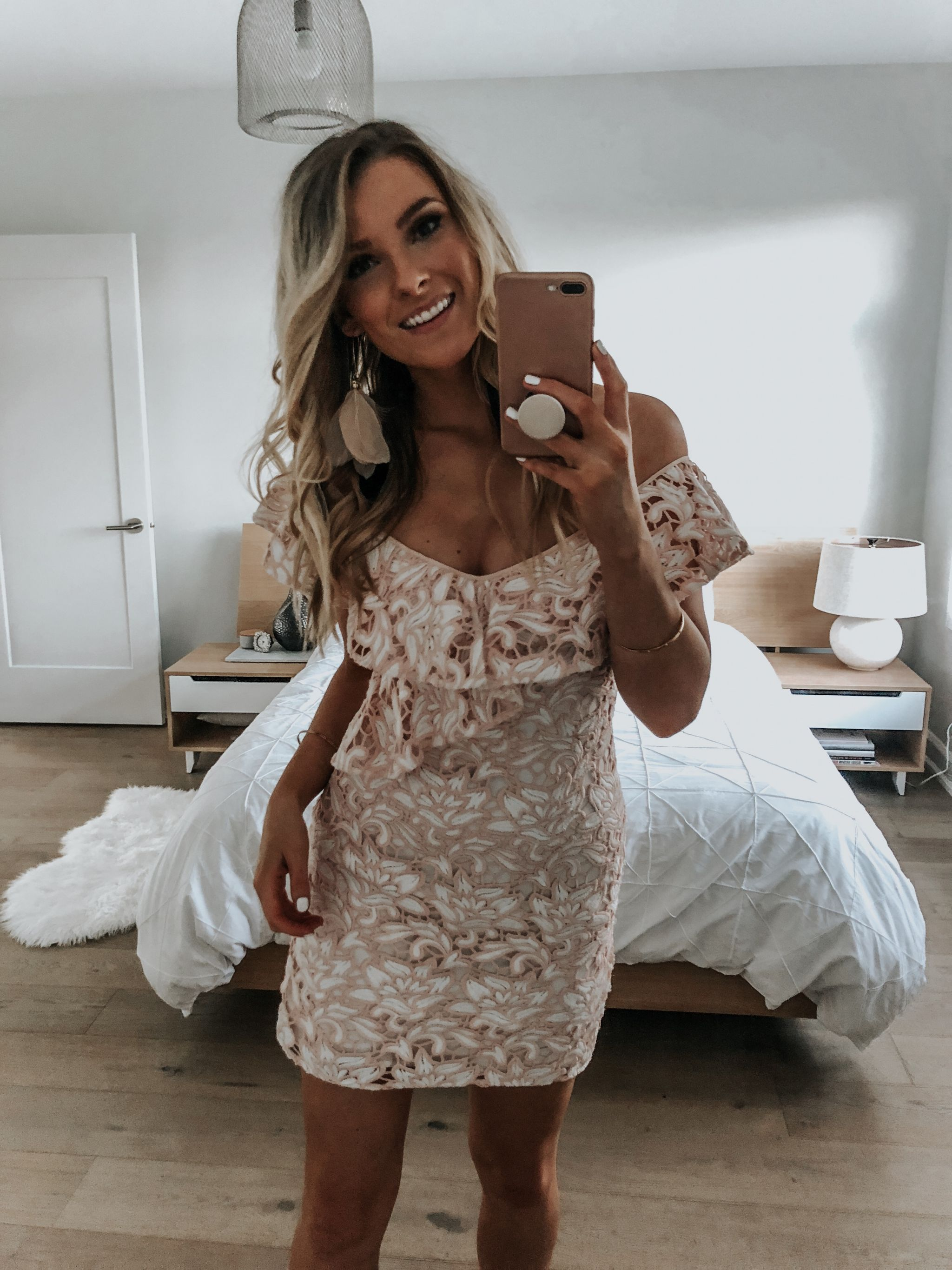 1 person, girl wearing lace dress bachelorette
