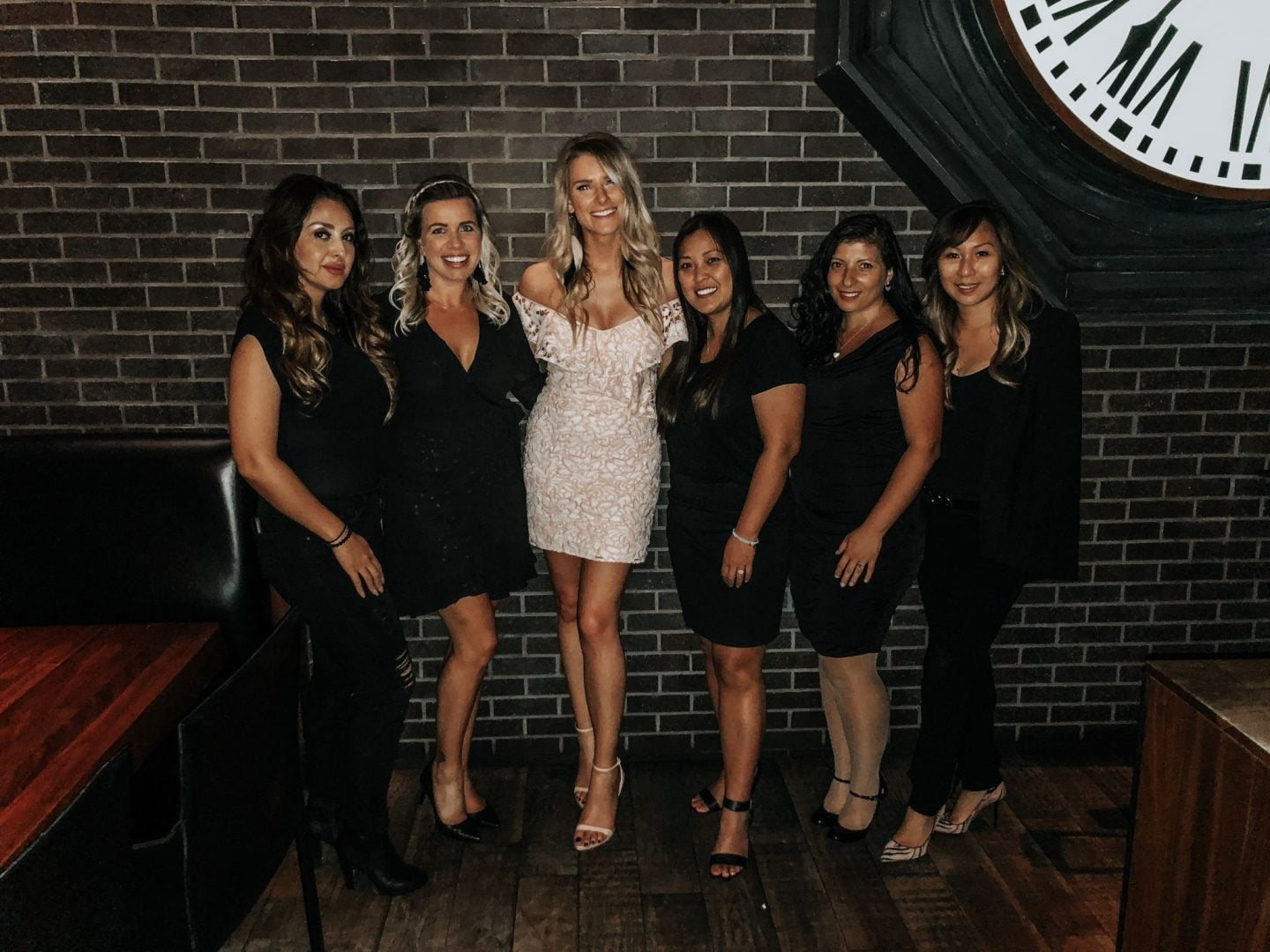 bachelorette party, bride with friends , bride in white girls in all black