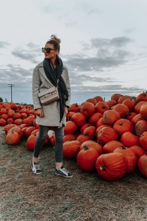 1 person, girl at the pumpkin patch