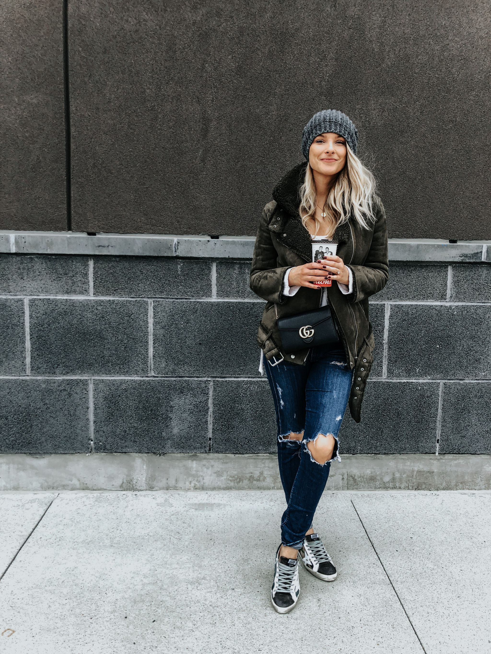 1 person, fashion blogger in fall outfit
