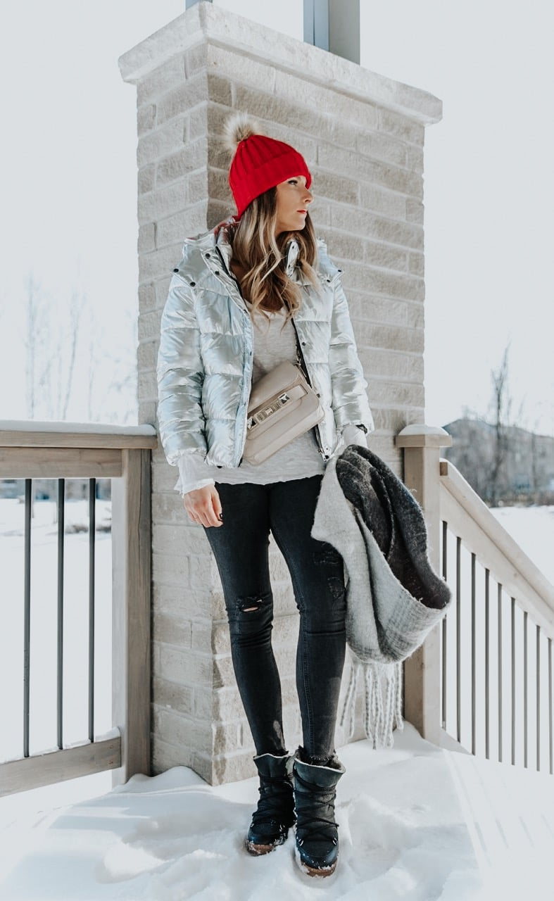 cyber Monday deals sales 2018, girl in silver jacket