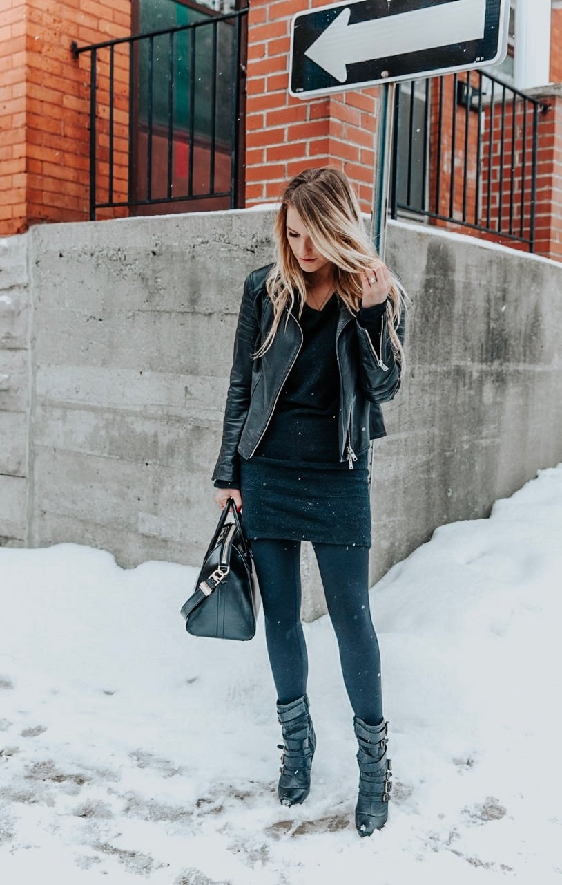 1 person, fashion blogger in winter wearing all black outfit