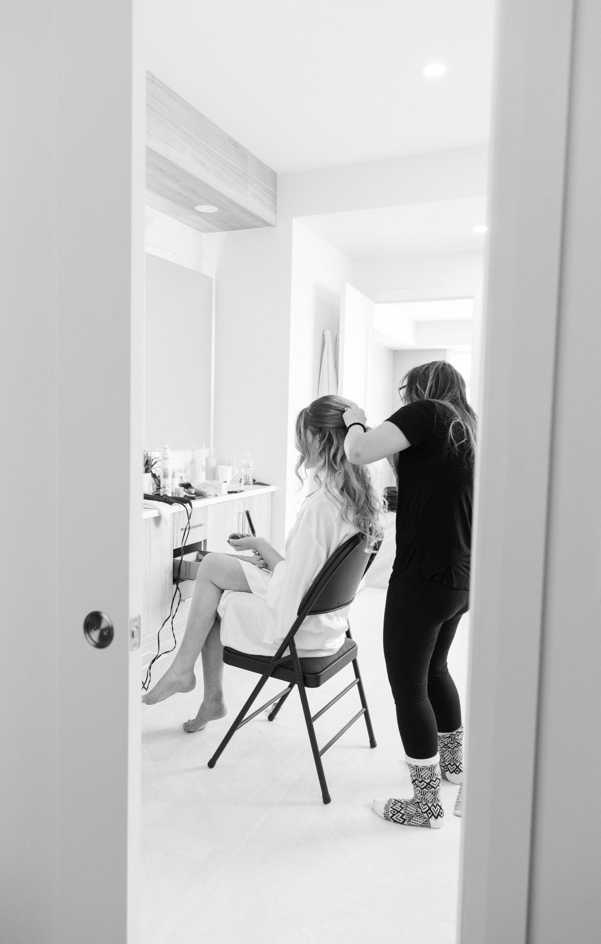 bride getting hair done by sim ferrante ottawa