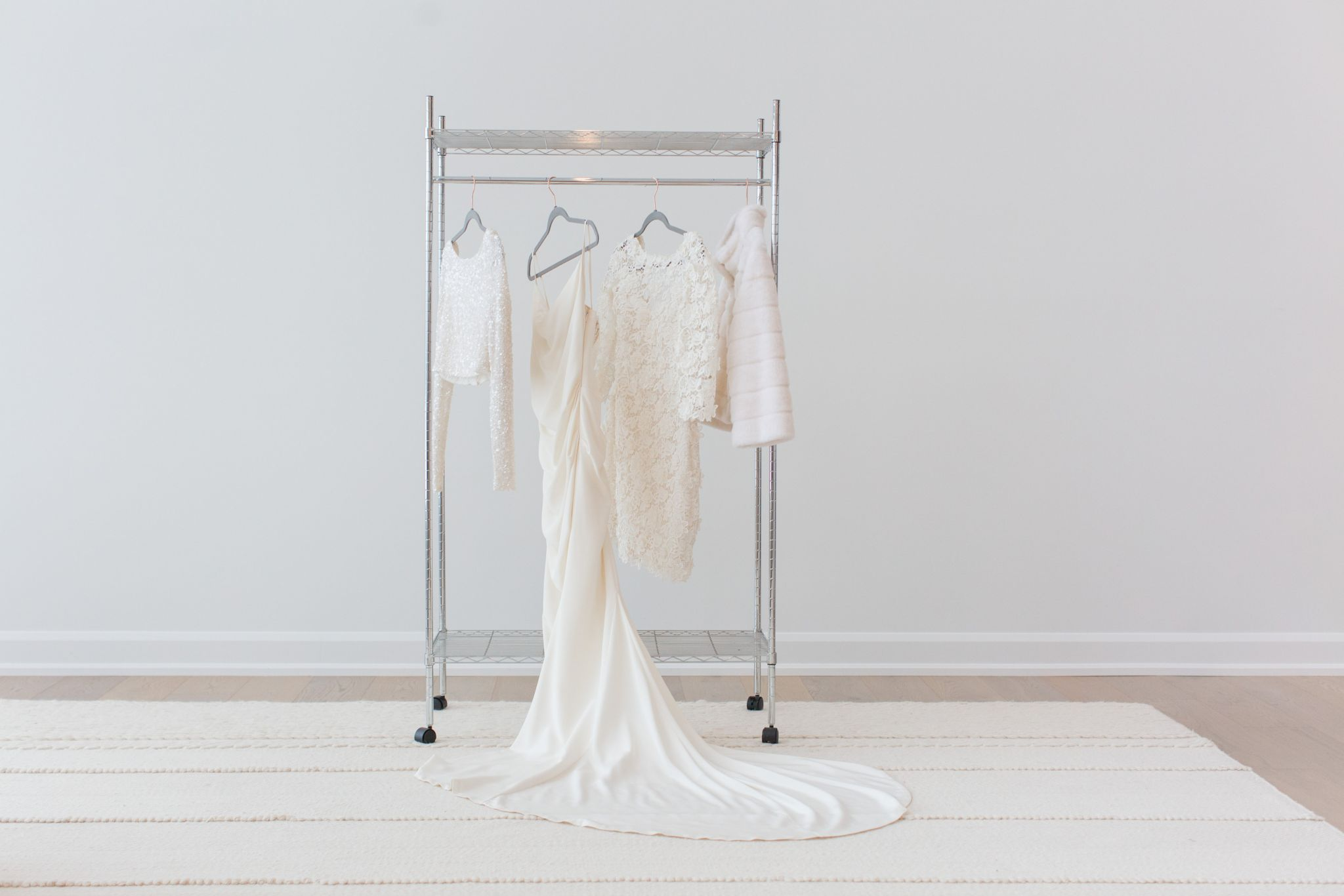 wedding dress on rolling rack, how to display your wedding dress