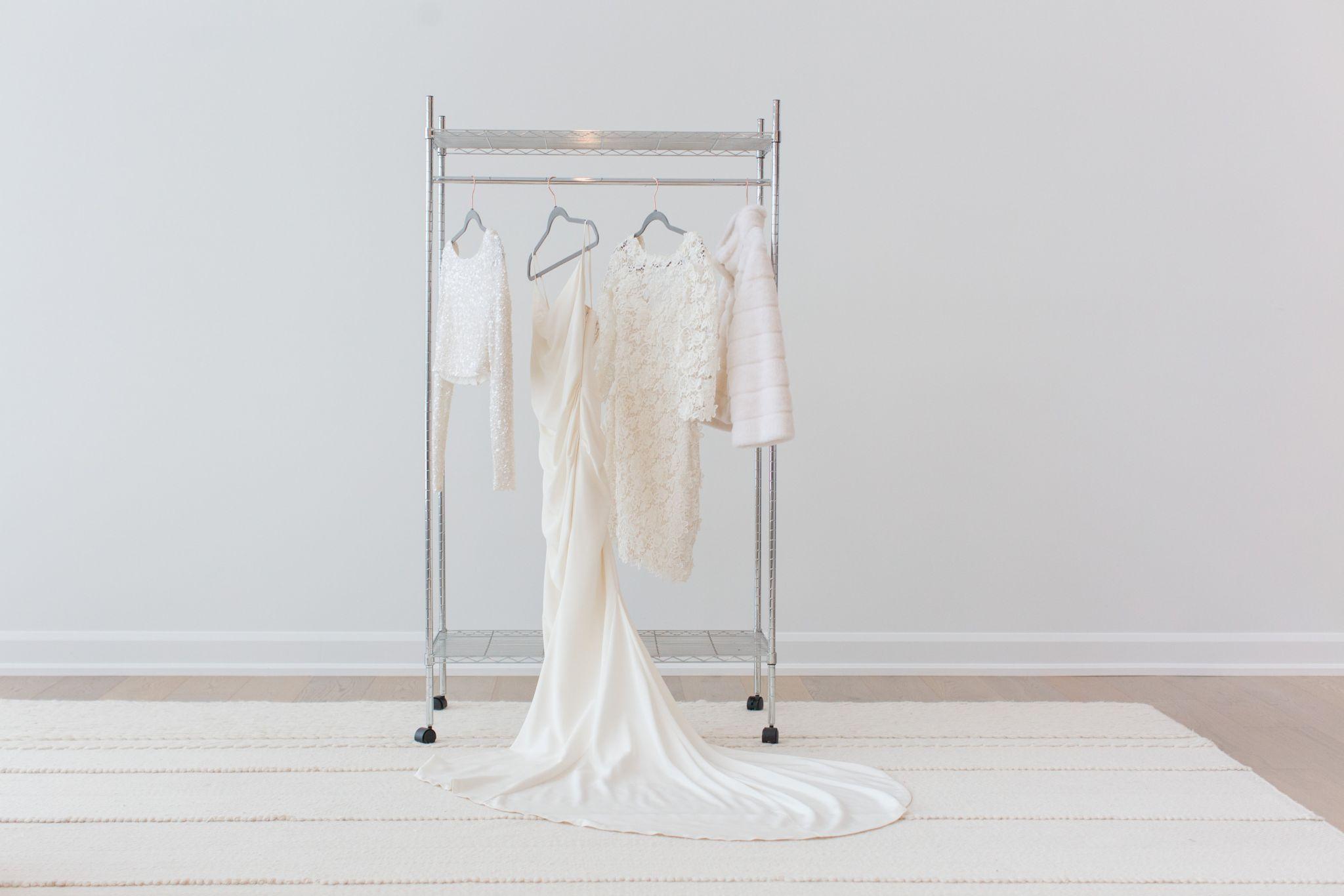 wedding dress on rolling rack, how to display your wedding dress
