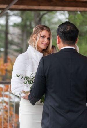 bride in white fur coat, le belvedere wedding