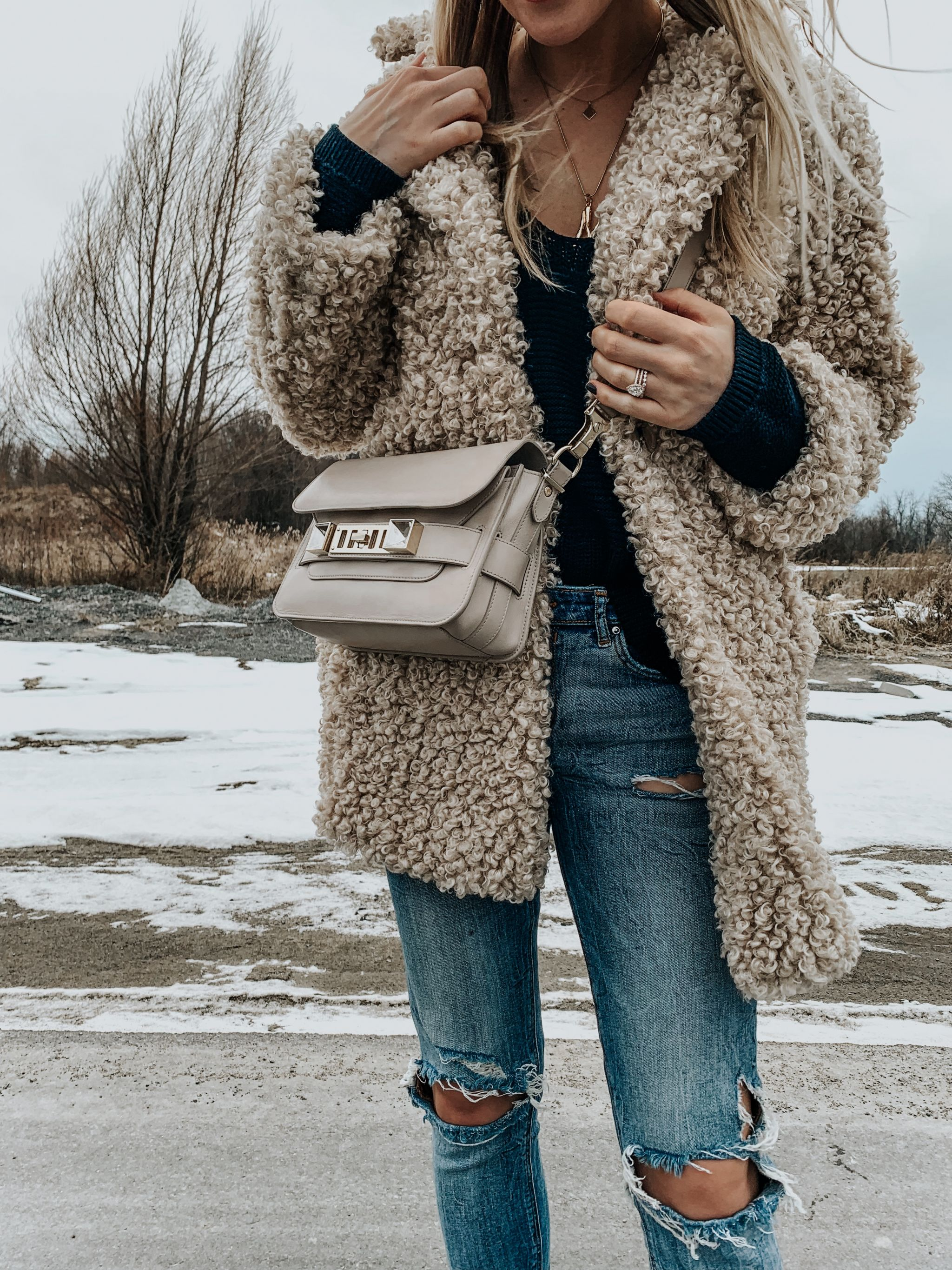 1 girl, teddy coat outfit and proenza bag