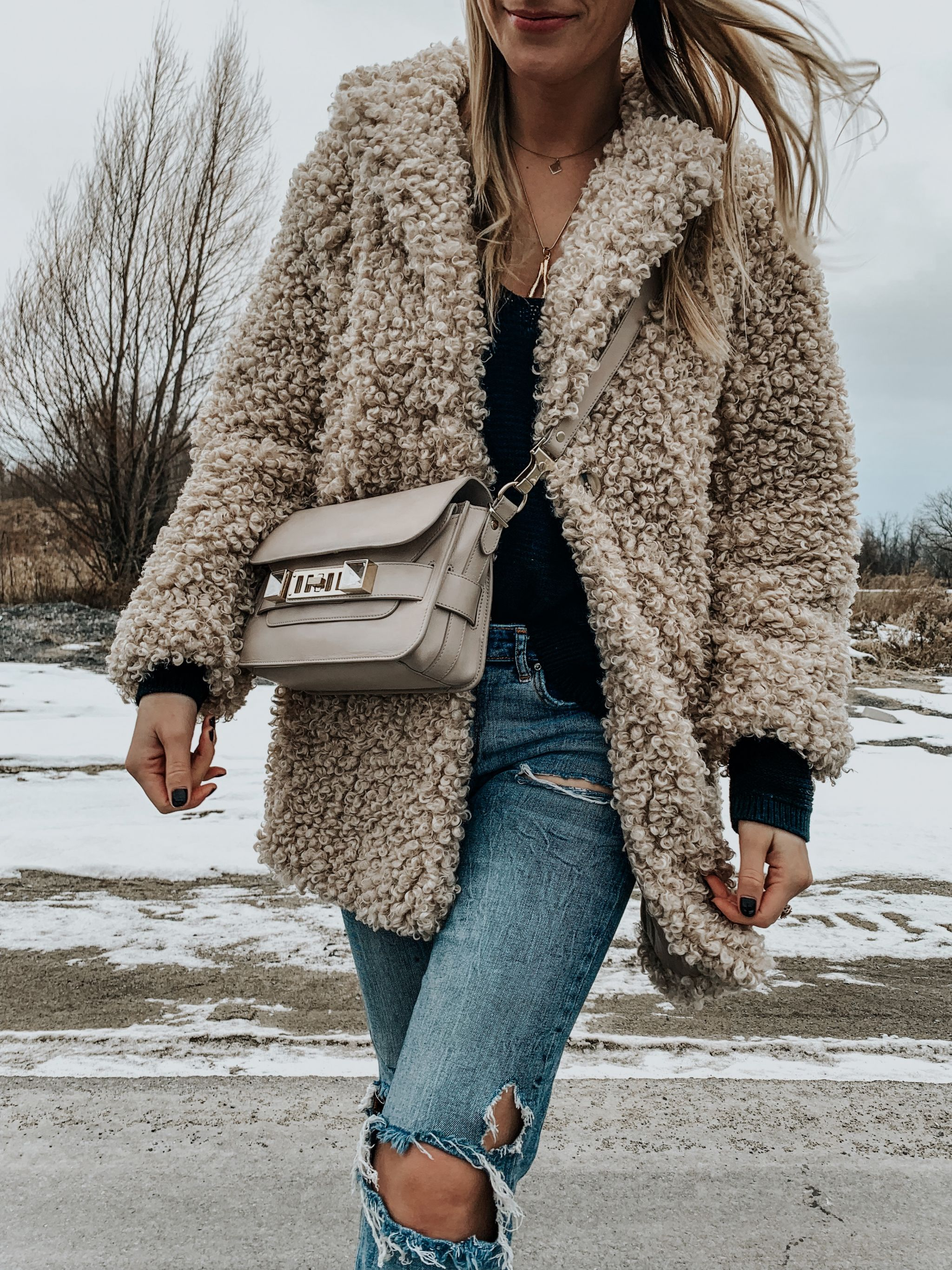 1 person, girl wearing teddy coat outfit