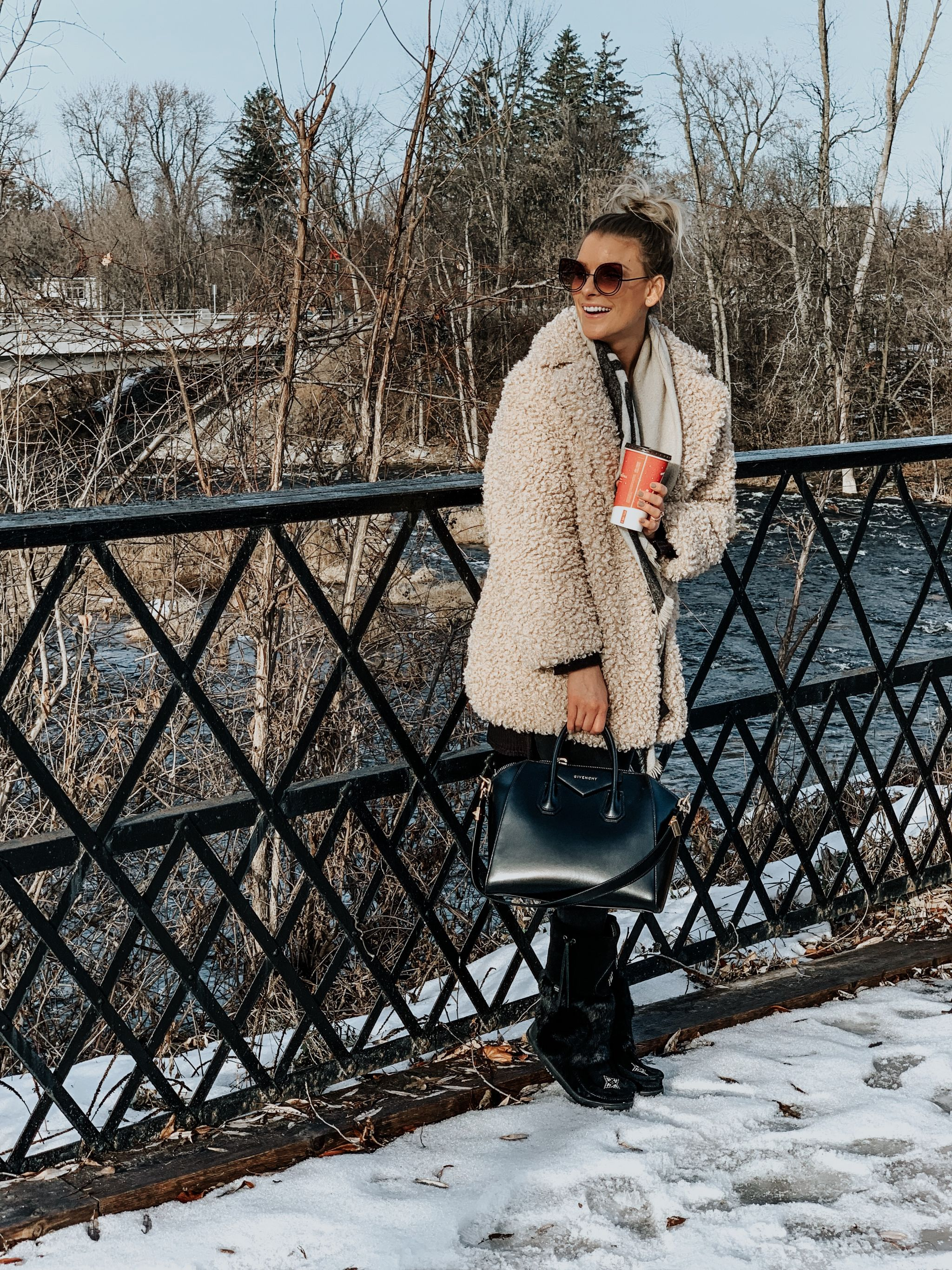 blogger wearing mukluks and teddy coat, amanda conquer