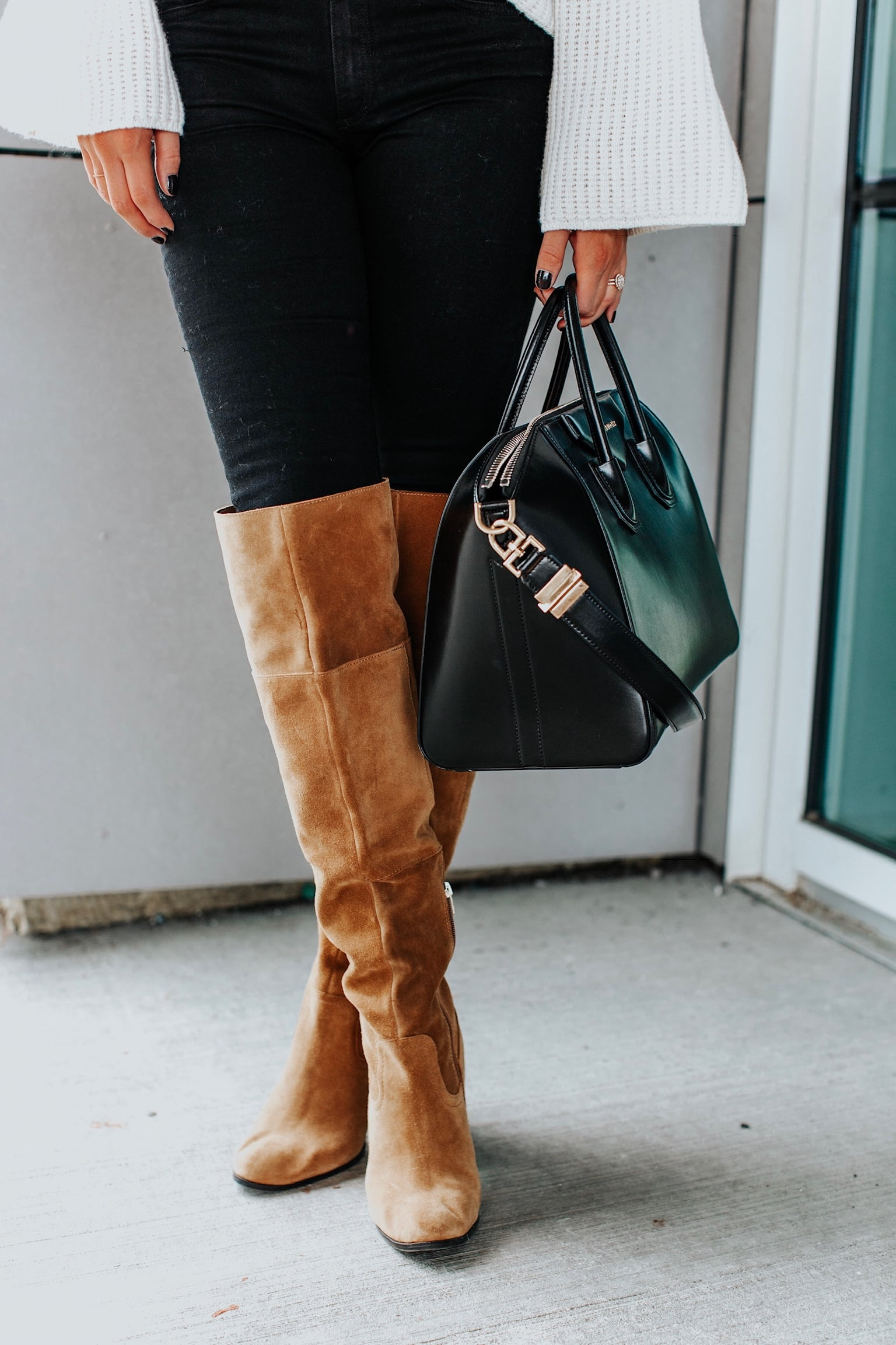 1 person, tan over the knee boots and givenchy antigona bag