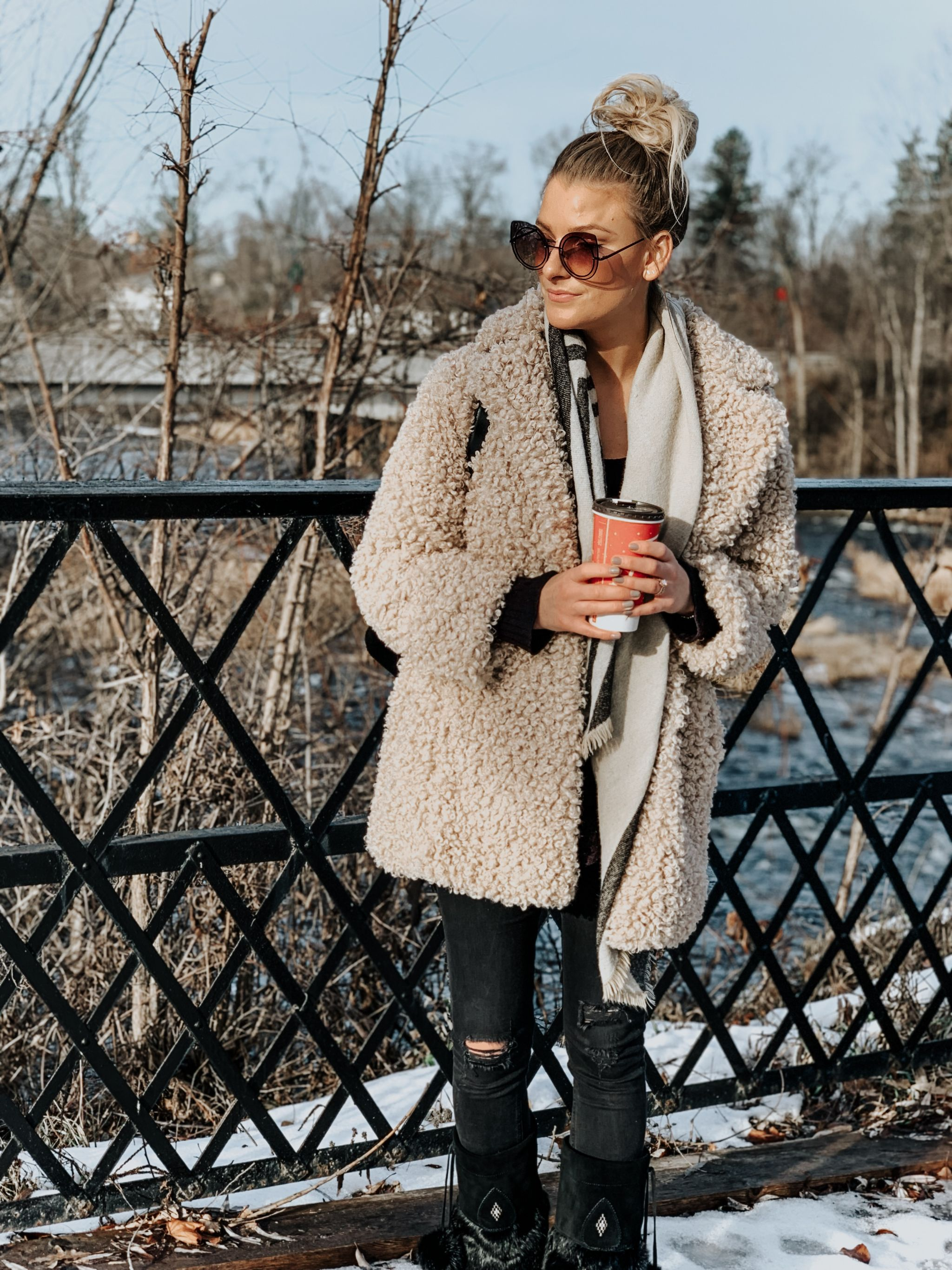 teddy coat outfit ideas, 1 person, girl wearing teddy coat in winter