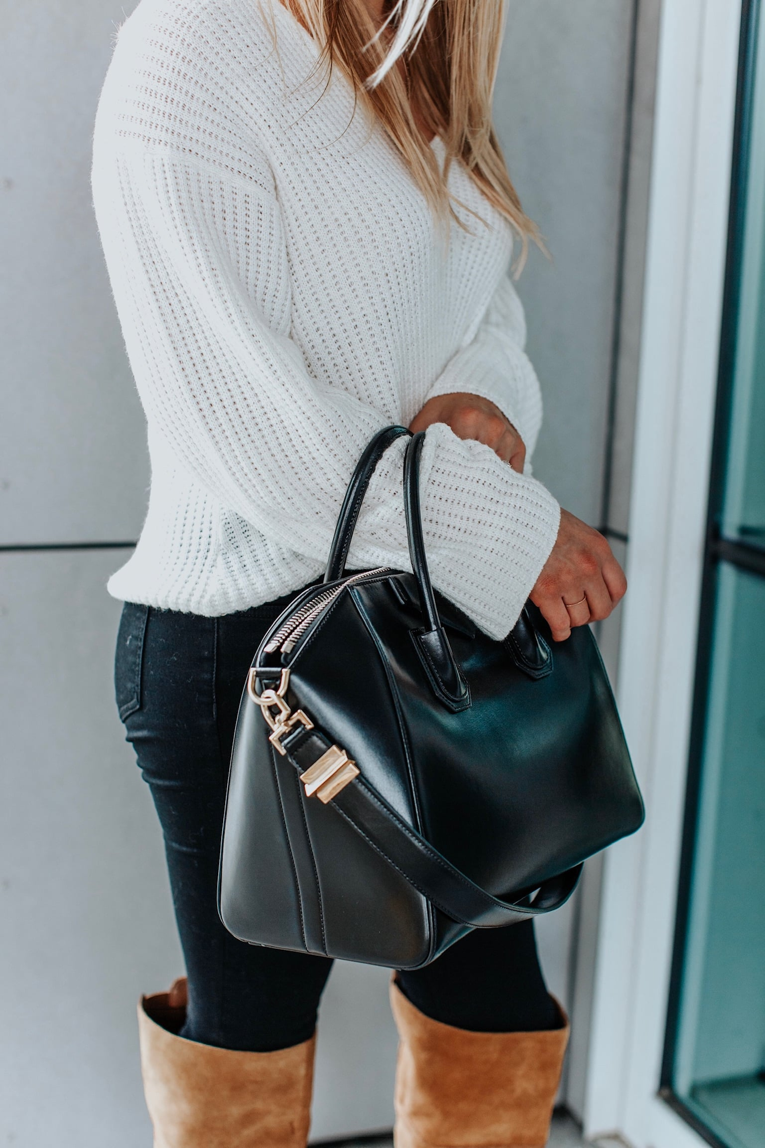 girl wearing white sweater, givenchy bag