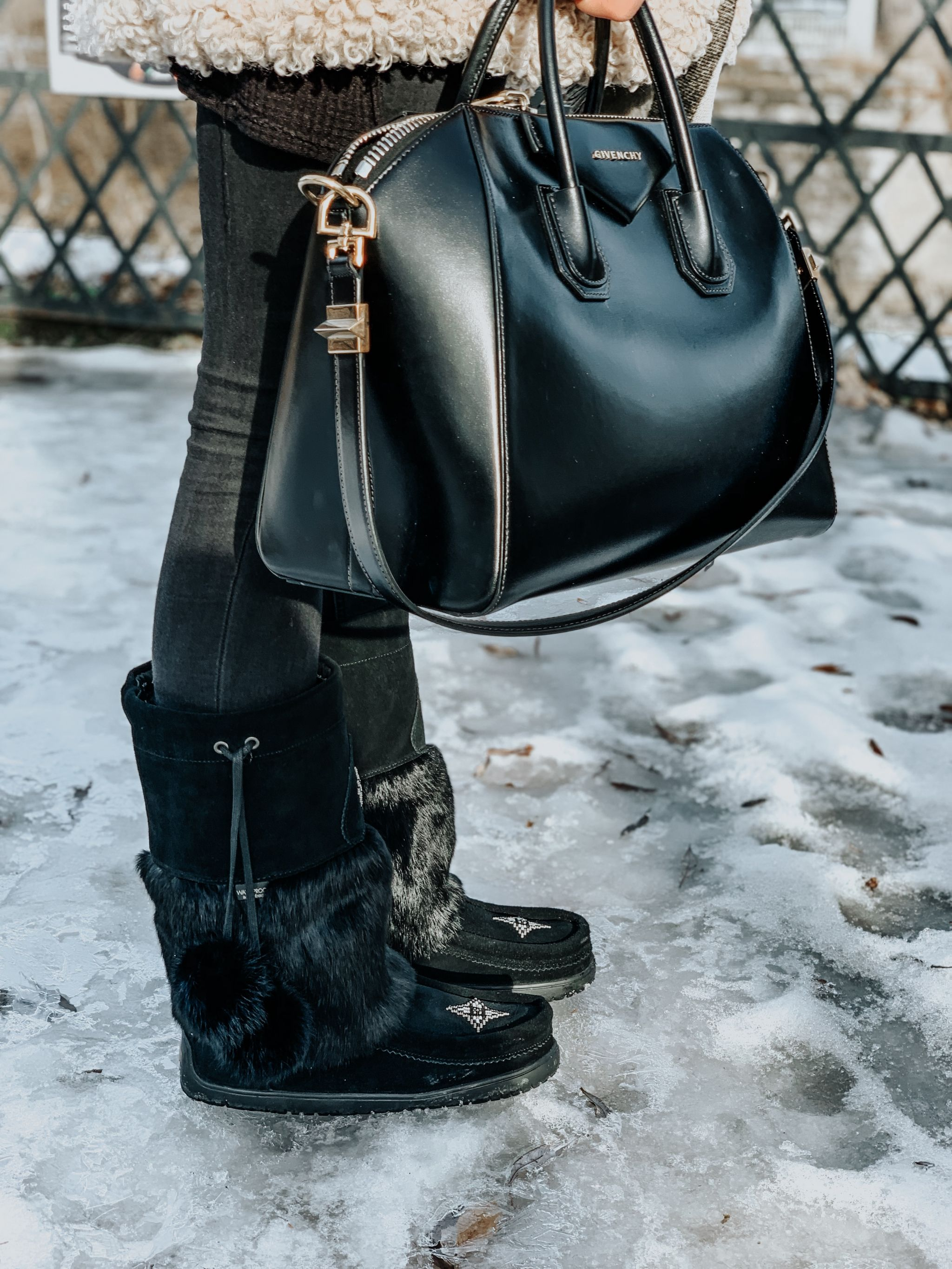 mukluks outfit and chic bag