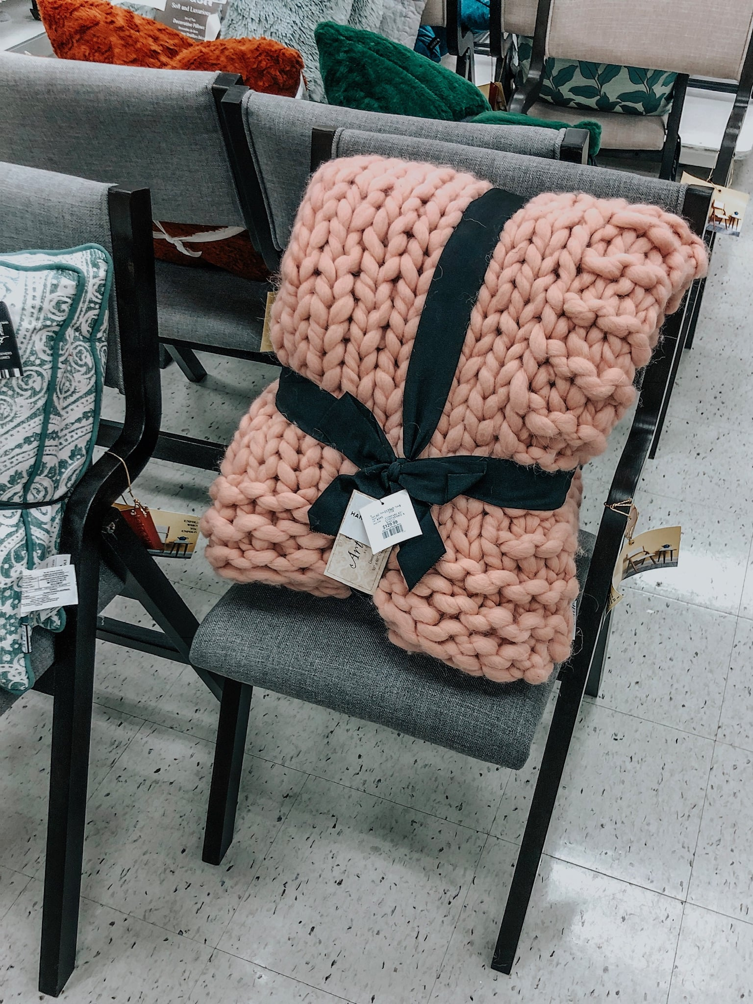 thick knit blanket, pink chunky sweater blanket