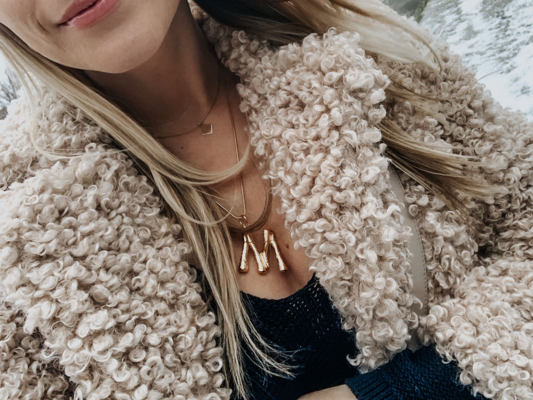 from where i stand, celine large initial necklace, 1 person wearing teddy coat
