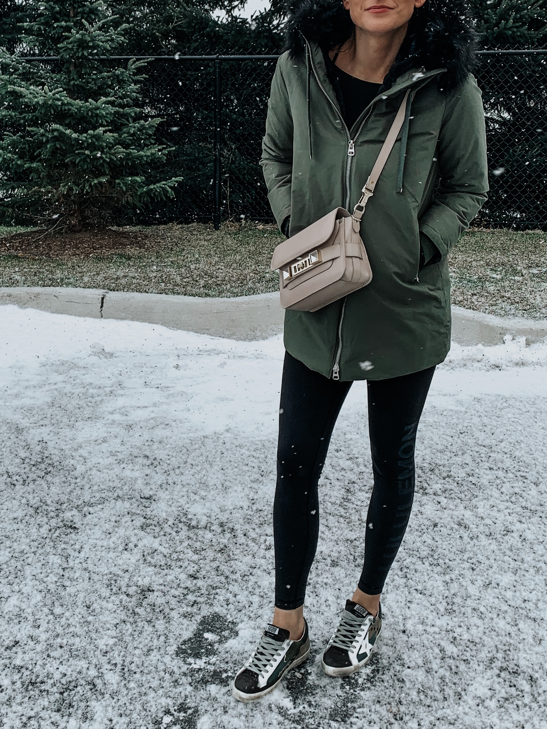 athleisure outfit in winter on fashion blogger