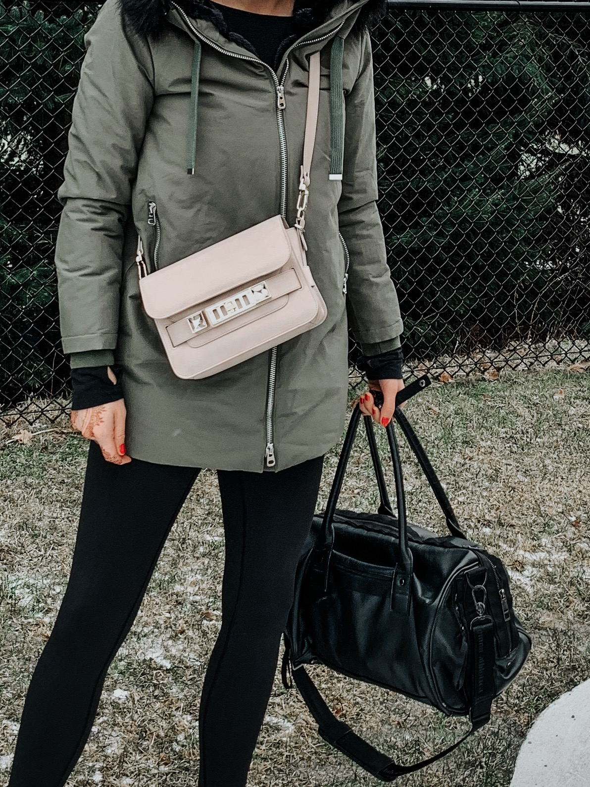 zara parka and ps11 bag