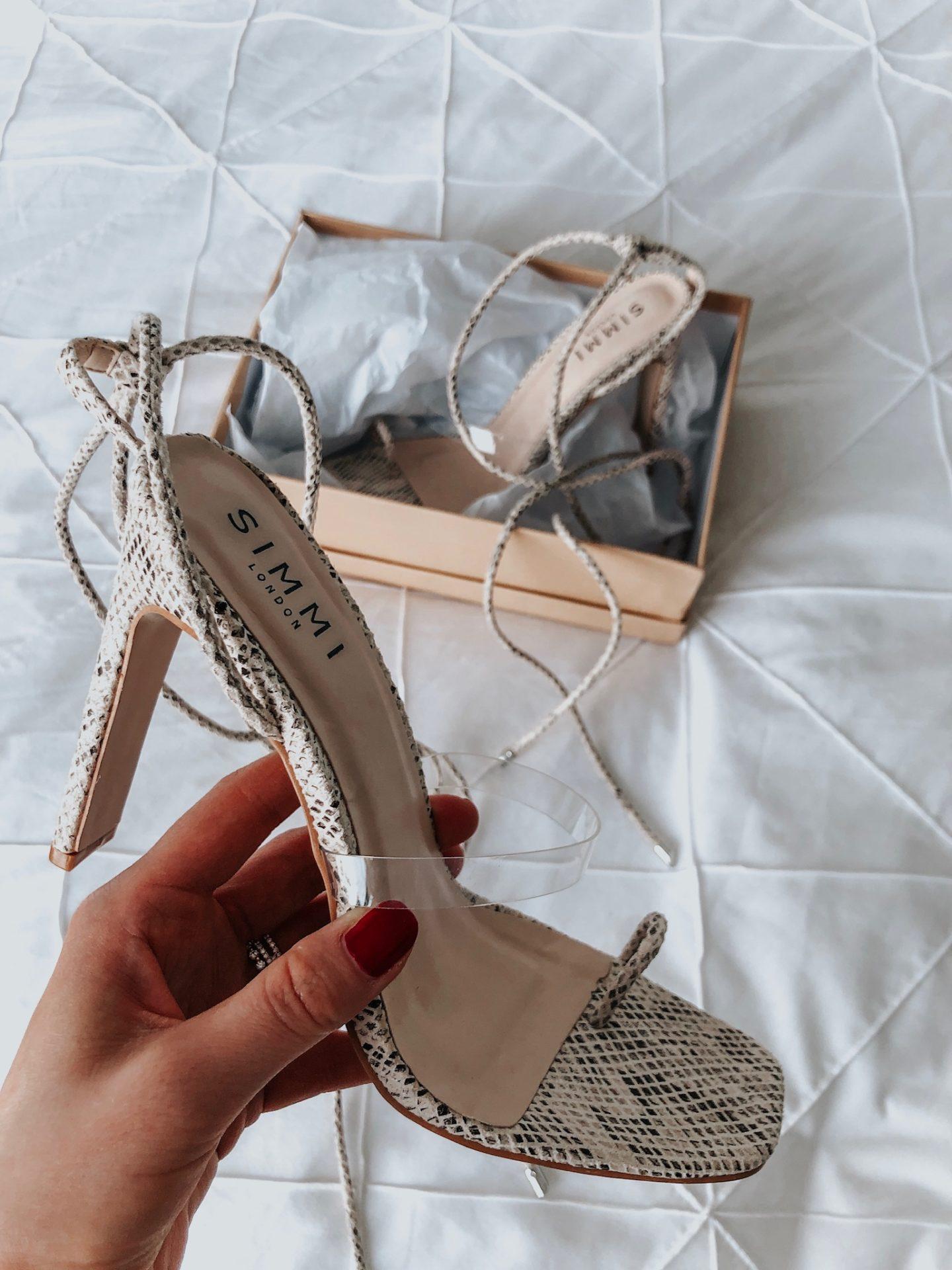 simmi snake print lace up heels, simmi Lauren, simmi yanny