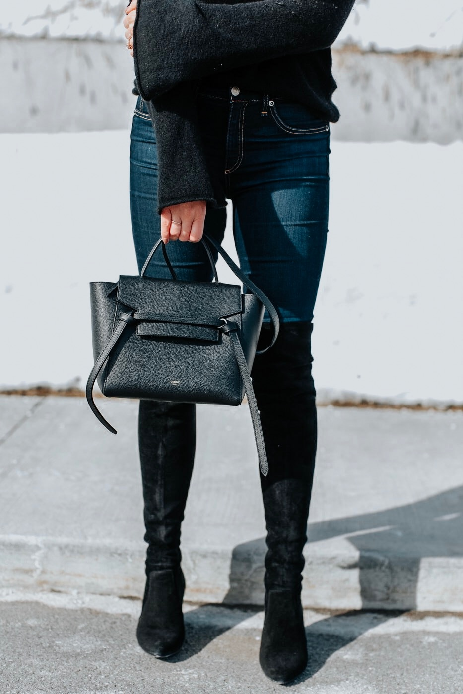 Celine Micro Belt Bag Goodnight Macaroon Over The Knee Boots Outfit Life With A Co By Amanda L Conquer