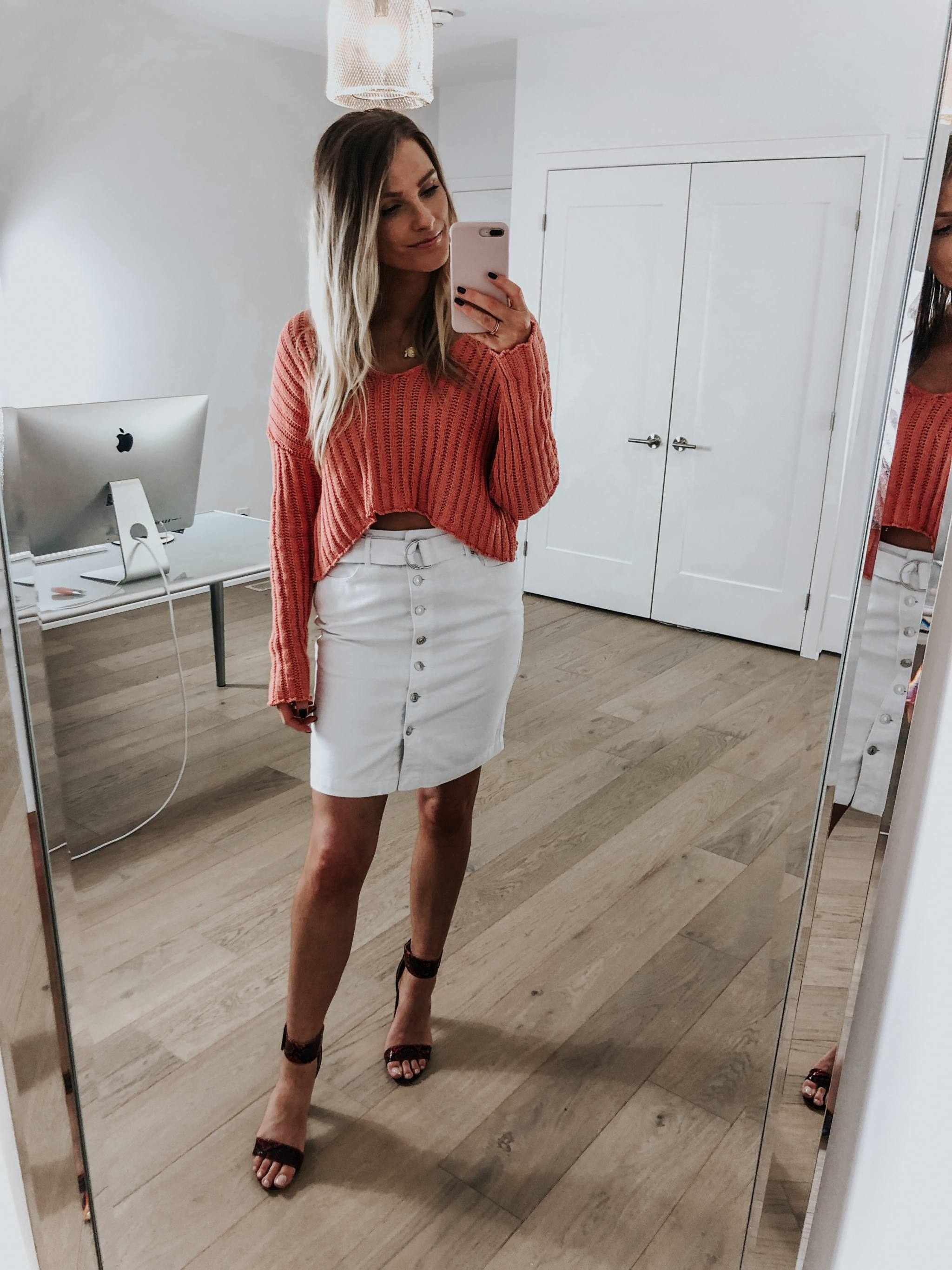 cute spring outfit with white denim skirt, life with aco - Life
