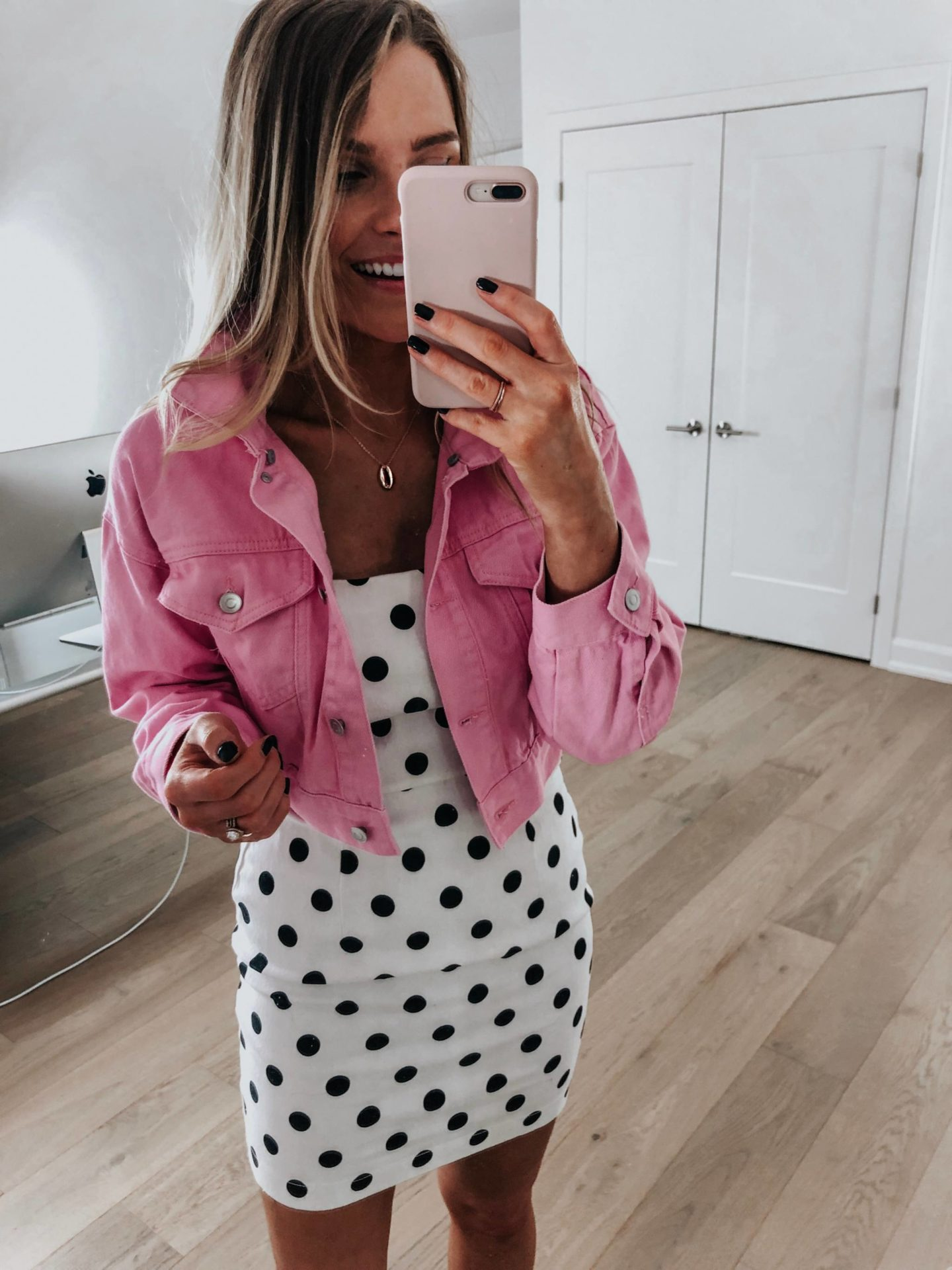 3e723adfc0e PINK CROPPED DENIM JACKET | F21 POLKA DOT DRESS — CAN'T FIND ONLINE YET,  BUT BRAND NEW (ALMOST IDENTICAL, STRIPED VERSION) | SHELL NECKLACE |  SNEAKERS